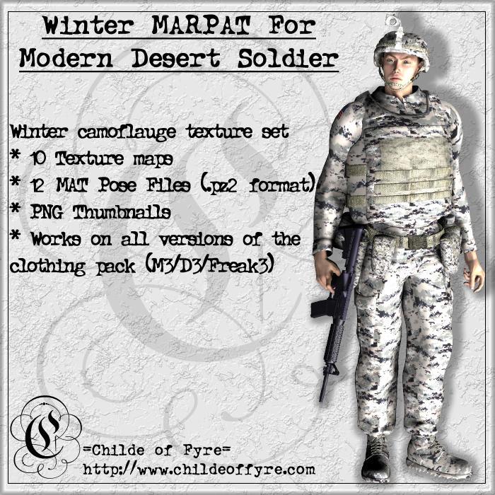 Winter MARPAT Camo for Daz Modern Desert Soldier