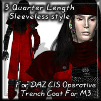 3 Quarter Sleeveless For Daz CIS Trench Coat
