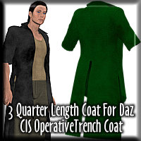 Three Quarter Length Coat for Daz CIS Trenchcoat
