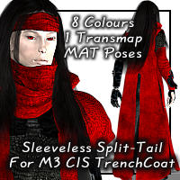 Sleeveless Split Tail For Daz CIS Trench Coat